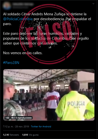 Captura de pantalla de tuit con video de la captura que dice que fue por el paro