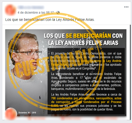 Captura de pantalla de publicación sobre ley Andrés Felipe Arias en Facebook