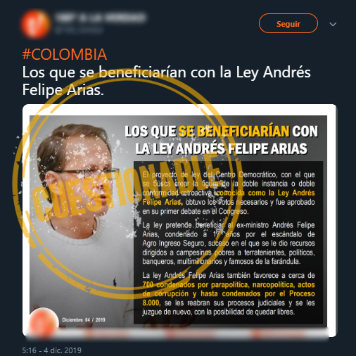Captura de pantalla de tuit sobre ley Andrés Felipe Arias