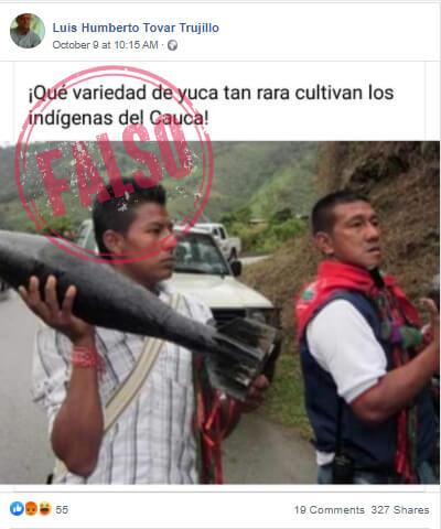 Publicación falsa sobre indígenas del Cauca armados con tatucos