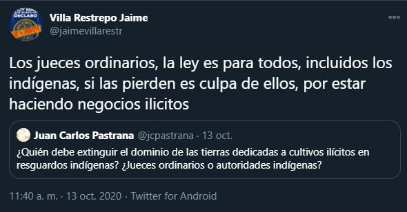 Trino de Jaime Villa contra los indígenas en el cita a Juan Carlos Pastrana
