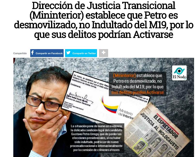 Noticia falsa sobre reapertura de procesos a Petro por el M-19